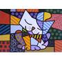 Quadro Romero Brito - O Gato Pintado À Mão 100x100 Cm