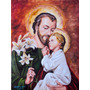 Pintura Óleo São José E Menino Jesus Bizantino Arte Sacra