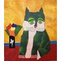 Quadro Pintura Em Tela - Gato Verde - Aldemir Martins