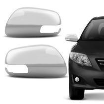 Capa De Retrovisor Cromada Corolla 2008 A 2012 Furo Pisca