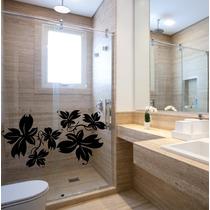 Adesivo Decorativo Parede Box Banheiro Floral Flor Rosa