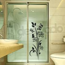 Adesivo Decorativo Box Banheiro Floral Com Borboletas Flores