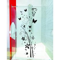 Adesivo De Parede Banheiro Porta Box Floral Bolha Borboletas