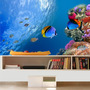 Decoração Peixe Aquário Painel Adesivo Fundo Do Mar Mod07