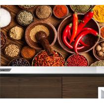 Adesivo Painel Papel Parede Cozinha Bar Pimenta Temperos M17