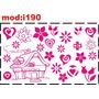 Adesivo I190 Casa Casinha De Boneca Flores Corações Quarto