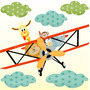 Adesivo Parede Decorativo Infantil Zoo Safari Avião Girafa