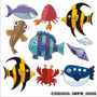 Adesivo Imp6 Infantil Kit Peixe Baleia Tubarao Concha Siri