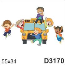 Adesivo D3170 Desenho Infantil Crianças Escolar De Parede