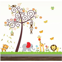 Adesivo Quarto Infantil Papel De Parede Arvore Safari Zoo