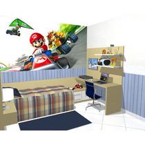 Papel De Parede Decoração Quarto Super Mario Kart Painel 5m2