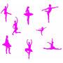 Adesivo De Parede Decorativo Kit Com 8 Bailarina Decoração