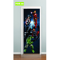 Adesivo Infantil P/ Portas Vingadores Hulk Homem Aranha