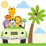 Adesivo Safari Decorativo Parede Safari Infantil Bebe Zoo
