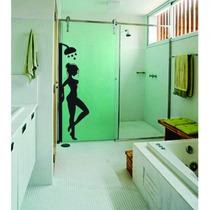 Adesivo Parede Banheiro Porta Box Mulher Chuveiro Água