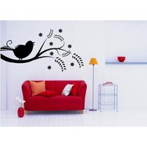 Adesivo Decorativo Parede Galho Pássaro Folha Árvore Floral