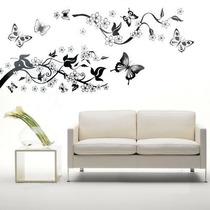 Adesivo Parede Decoração Borboleta, Flores E Arvore 70x50 Cm