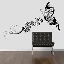 Adesivo Decorativo Parede Borboleta Floral Flores Grande