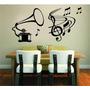 Adesivo Decorativo Parede Vitrola Música Notas Musicais