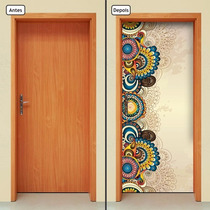 Adesivo Decorativo De Porta - Flores - 098mlpt
