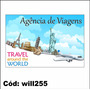 Adesivo De Parede Agência De Viagens Avião Paisagem Will255