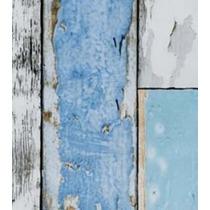 Papel De Parede - Plastico Adesivo 15mts - Madeira Azul