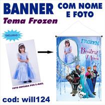 Banner Infantil Aniversário Nome E Foto Tema Frozen Will124