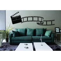 Adesivo Parede Sala Cinema Filme Claquete Música - 2 Metros