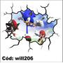 Adesivo Decorativo De Parede Rachadura 3d Sonic Will206