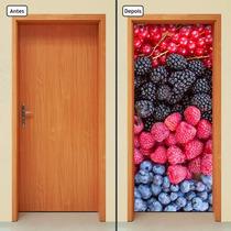 Adesivo Decorativo De Porta - Frutas Vermelhas - 380mlpt