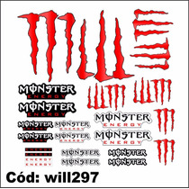 Kit De Adesivos Para Moto Marca Monster Cor Vermelho Will297