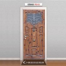 Adesivo Porta Textura Madeira Estilo Medieval Mod Pex03