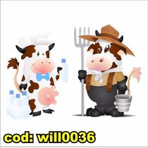 Adesivo Decorativo Vaca Boi Cozinha Parede Armário Will0036