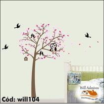 Adesivo De Parede Árvore Com Folhas Pássaros Coruja Will104