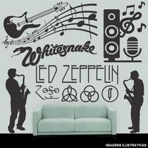 Adesivo Decorativo Parede Notas Musicais Guitarra Rock 1,00m