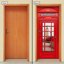 Adesivo Decorativo De Porta - Cabine Telefônica - 080mlpt