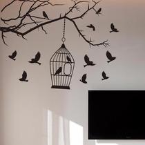 Adesivo Decorativo De Parede Pássaros - Arvores E Galhos