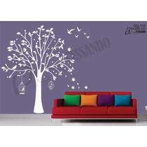 Adesivo Decorativo Arvore Colorida Com Pássaros E Gaiolas
