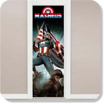 Adesivo Porta Super Herói Capitão América + Nome Brinde