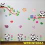 Adesivo Kit Ursos Pássaro Galho Flores Coruja Pandas Wpt65