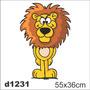 Adesivo D1231 Leão Leãozinho Juba Selvagem Desenho Parede