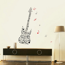 Adesivo Decorativo De Parede Guitarra Notas Musicais