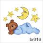 Adesivo Urso Ursinho Dormindo Cabeceira Cama Menino Br016