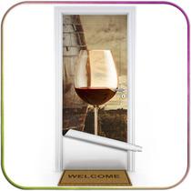 Adega E Vinho - Adesivos Decorativos Para Portas - Madeira