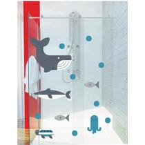 Adesivo Porta Box Vidro Kit Fundo Mar Peixe Bolha Tubarão