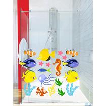 Adesivo Parede Banheiro Box Vidro Kit Fundo Mar Peixe Bolha