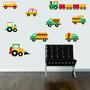 Adesivo Parede Infantil Quarto Kit Carros Caminhão Trator