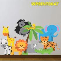 Adesivo Infantil Árvore E Animais Na Floresta Safari Wpt47