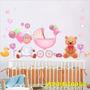 Adesivos Ursinho Carrinho Bebê Quarto Infantil Flores Wpt53