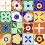 Ladrilho Cerâmico Floral Colorida (caixa Com 4 Placas)